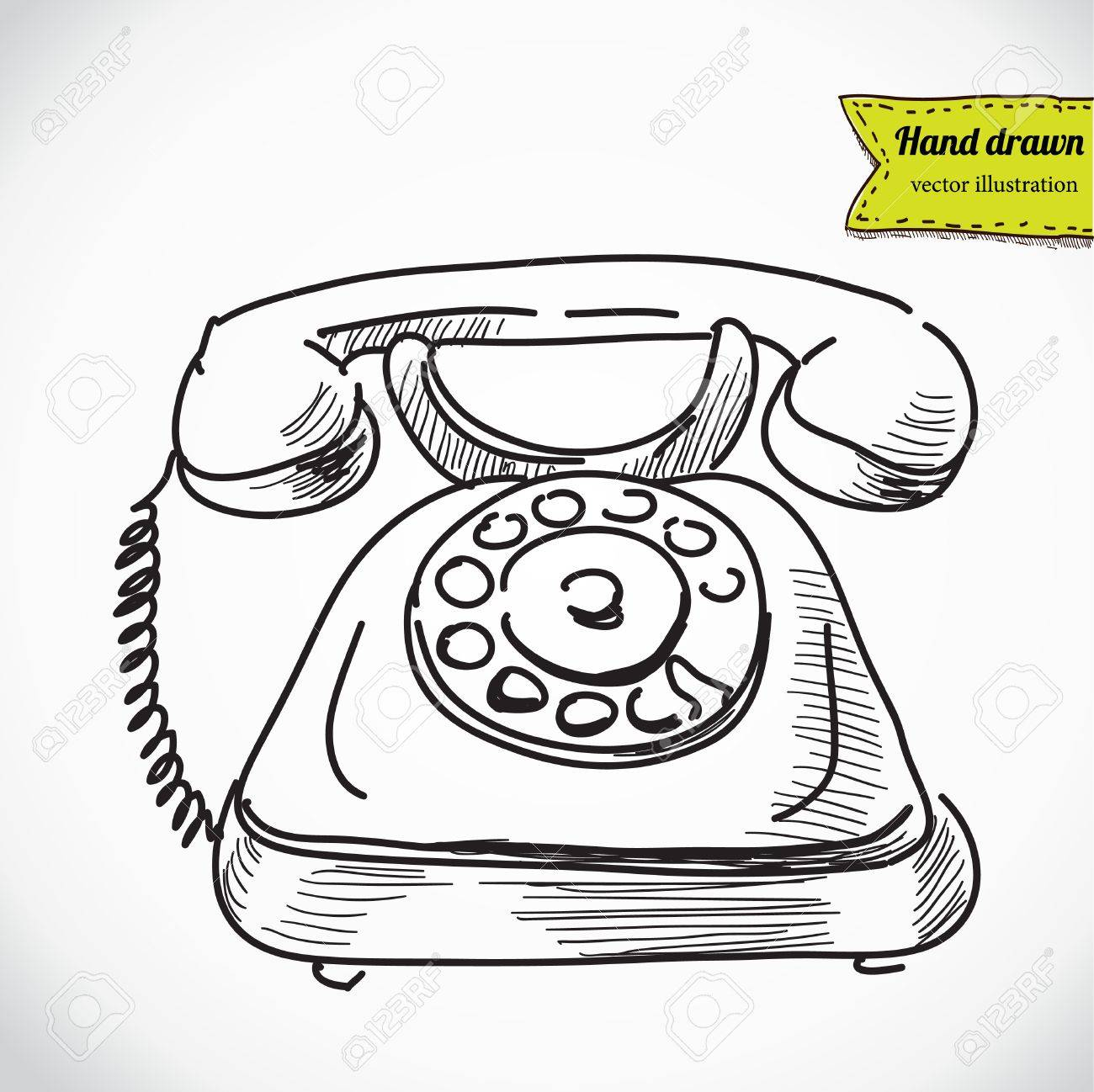 Vintage Phone Sketch Cartoon Vector Illustration Royalty Free