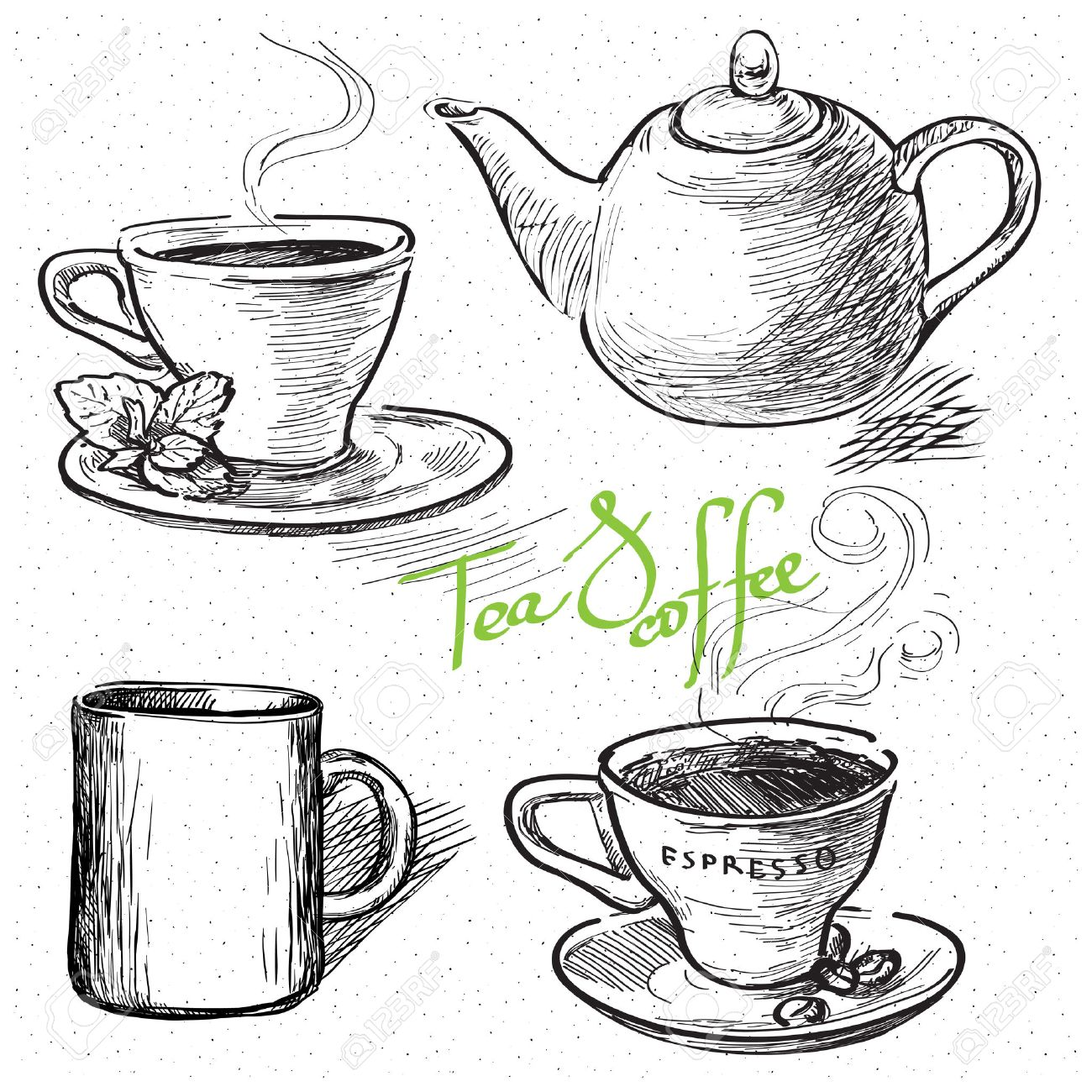 Cup Of Coffee Tea Mug Teapot Hand Drawn Illustration Royalty Free Cliparts Vetores E Ilustracoes Stock Image 43450601