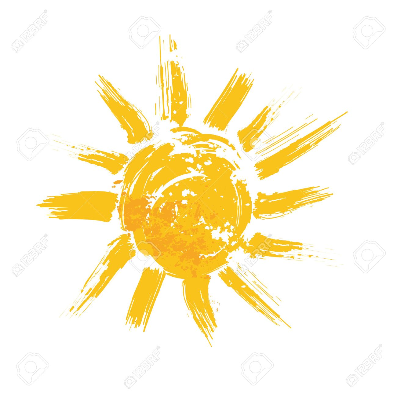Watercolor sun, rays flat icon closeup silhouette isolated on white background. Art logo design - 43450946