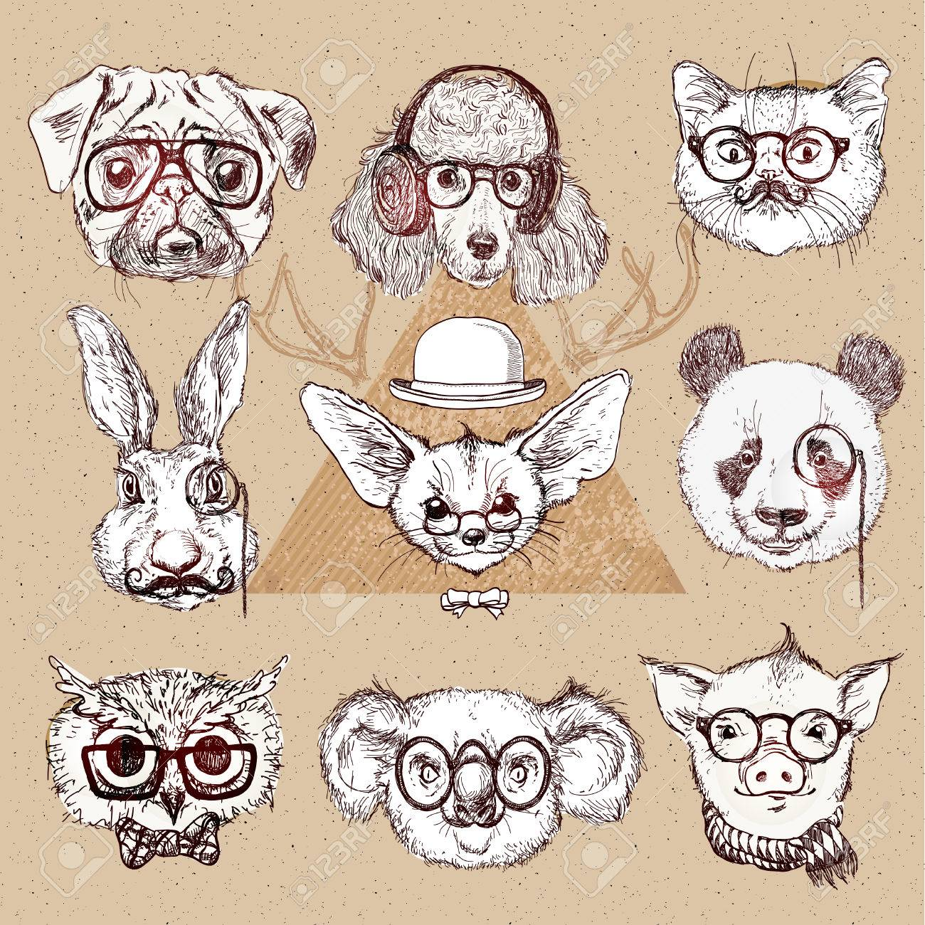 流行に敏感な動物のベクトルで眼鏡をかけて設定のヴィンテージのイラスト
