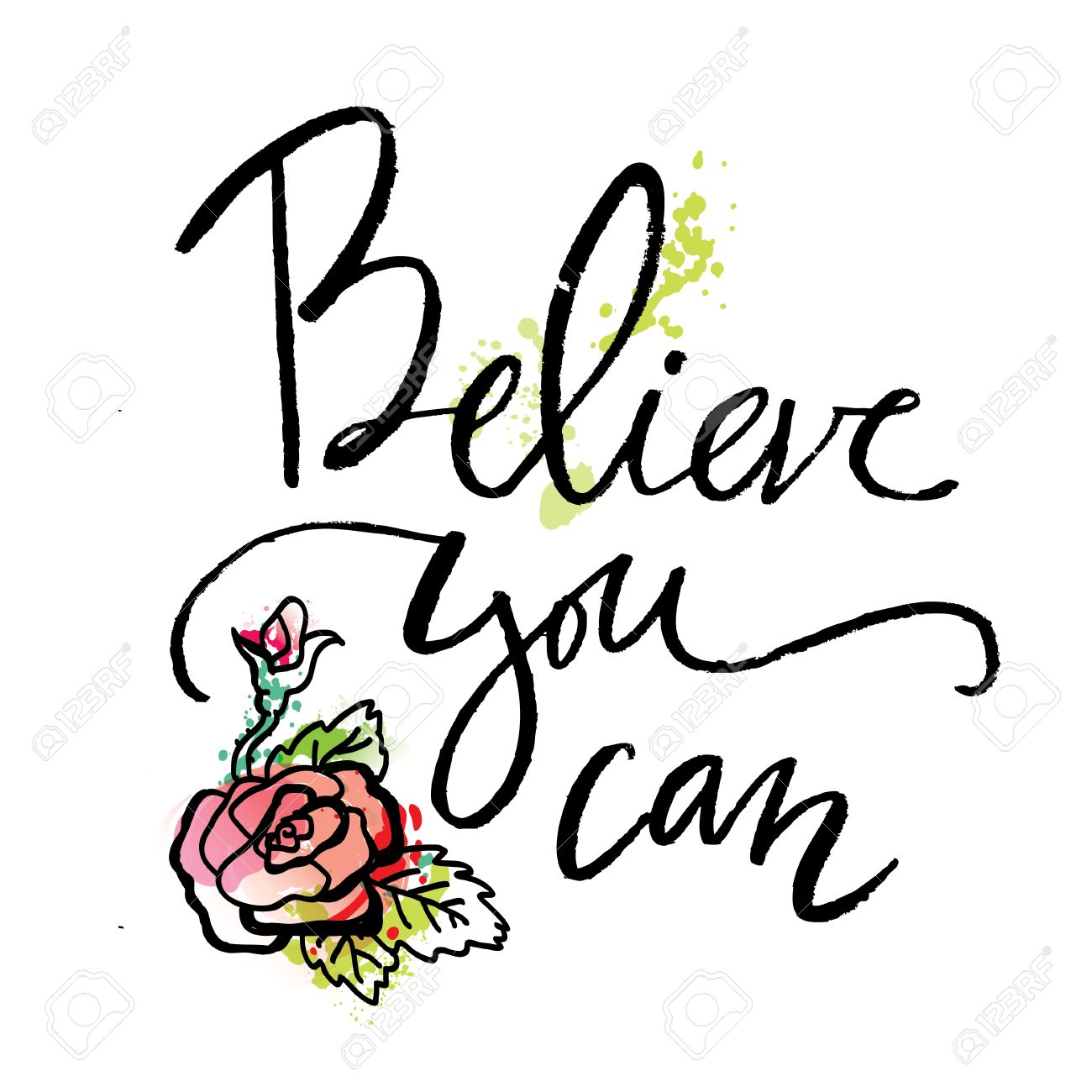 Believe You Can. Inspirational And Motivational Quotes. Hand Painted Brush  Lettering. Hand Lettering