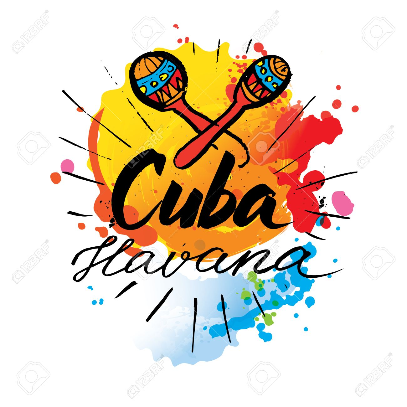 Cuba Havana logo  hand lettering and colorful watercolor elements