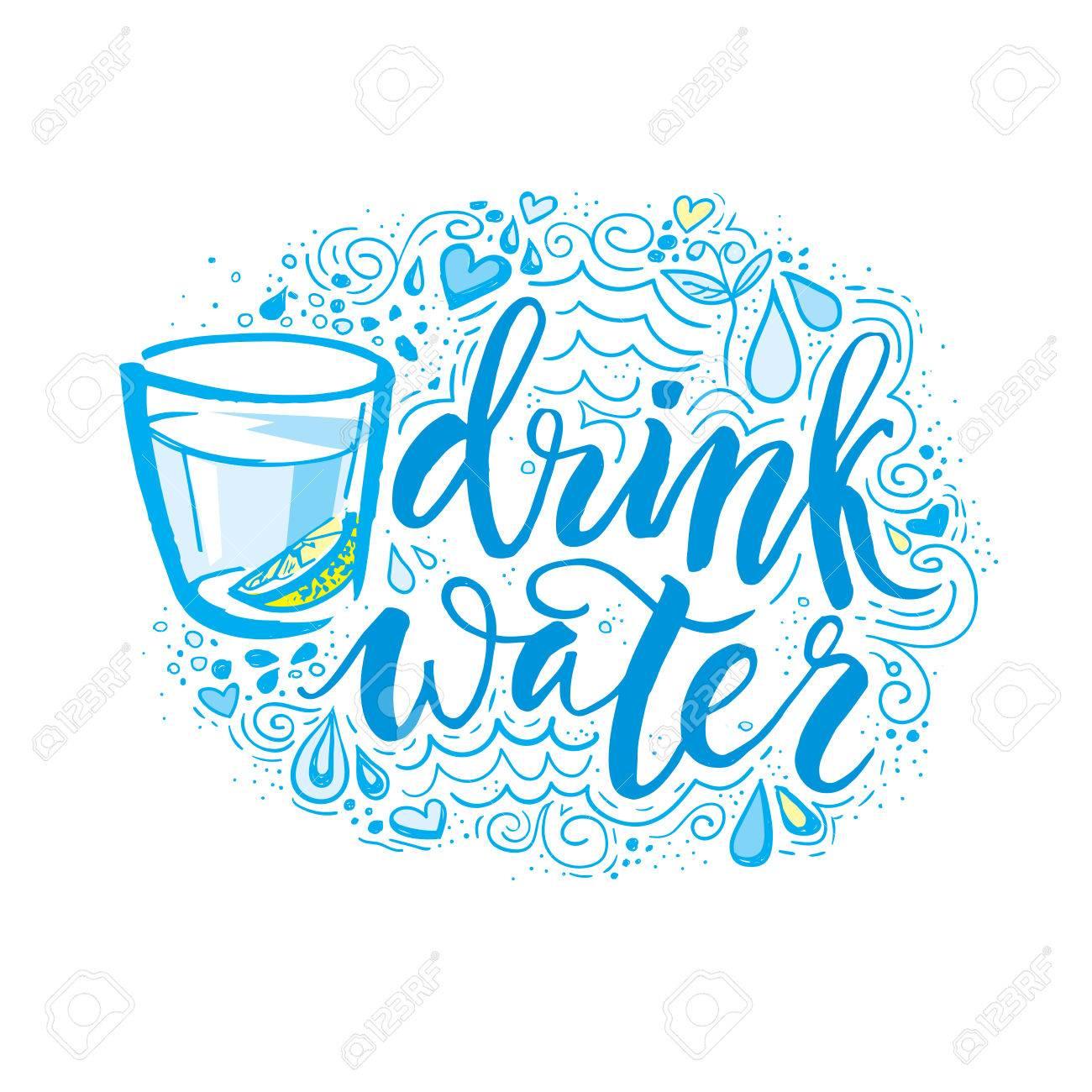 d9b7aa8ef Bebe mas agua. Dibujado a mano cartel de la tipografía. Camiseta de mano con