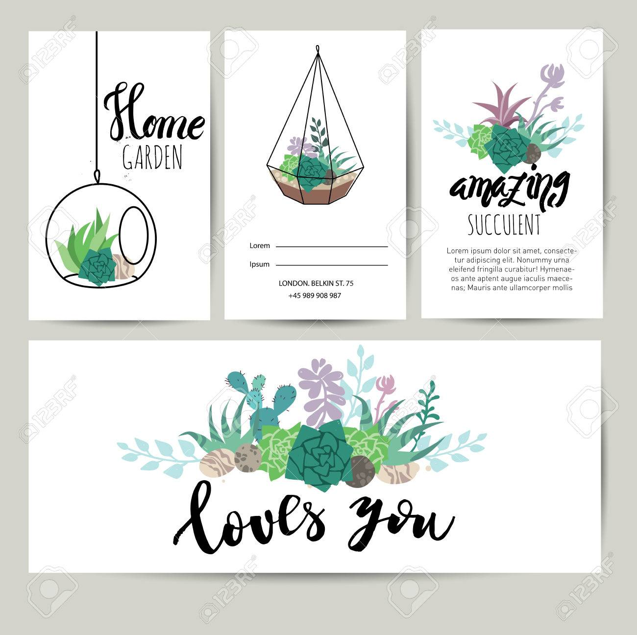 Succulent plant greeting card invitation with lettering flower succulent plant greeting card invitation with lettering flower vector background stock vector 80189021 stopboris Choice Image