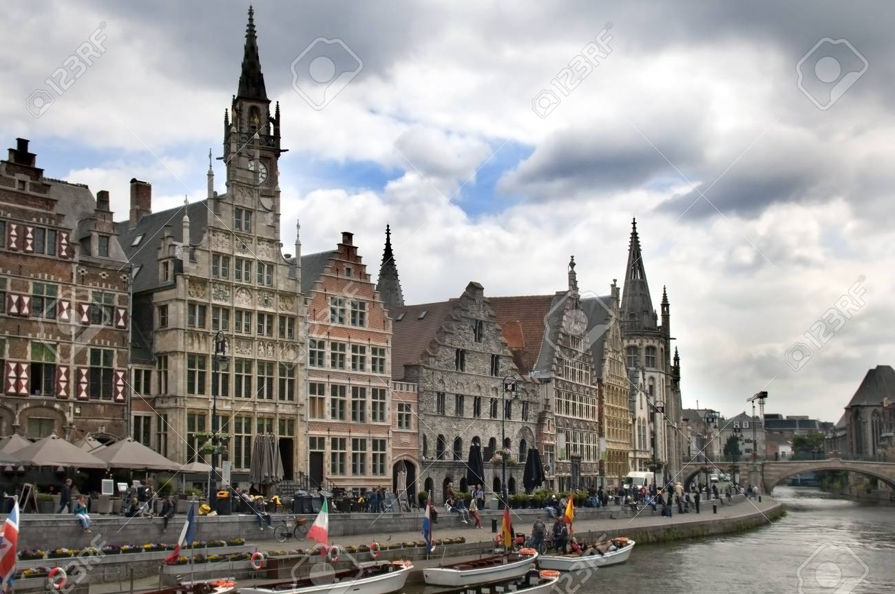 Ghent Graslei on the waterfront in Belgium Stock Photo - 12790485
