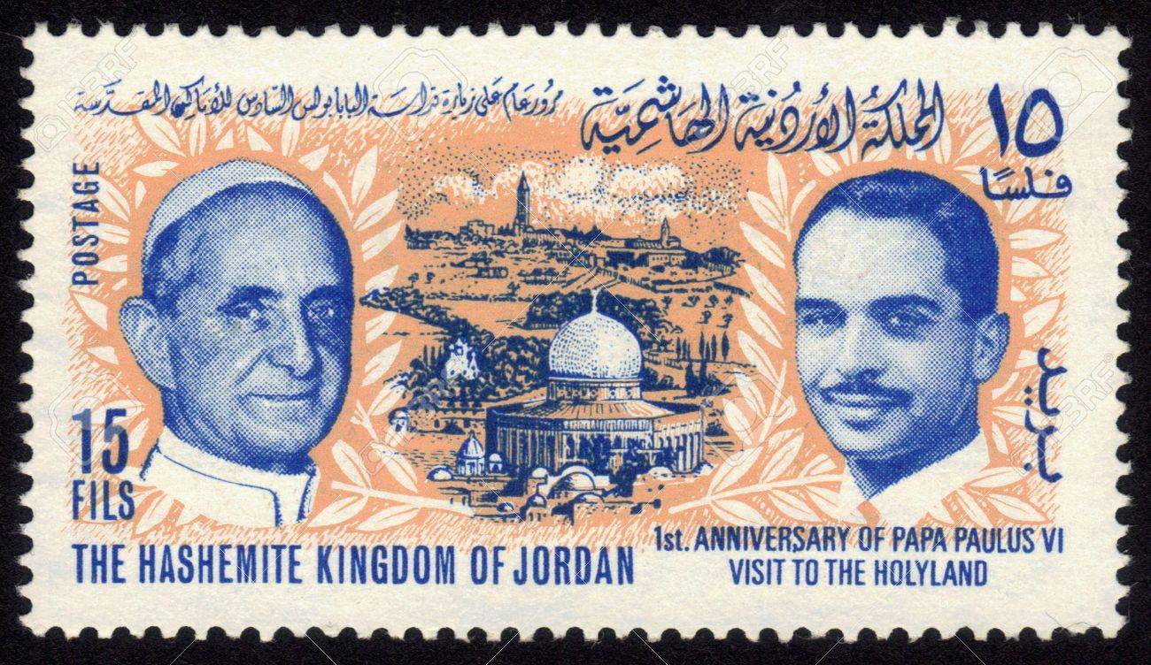 JORDAN-CIRCA 1965 A stamp printed in Jordan shows image of Al-Aqsa Mosque, the Old City of Jerusalem, Pope Paulus VI and king Hussein,inscription - 1st  anniversary of Pope Paulus VI visit to the Holy Land  circa 1965  Stock Photo - 13182636