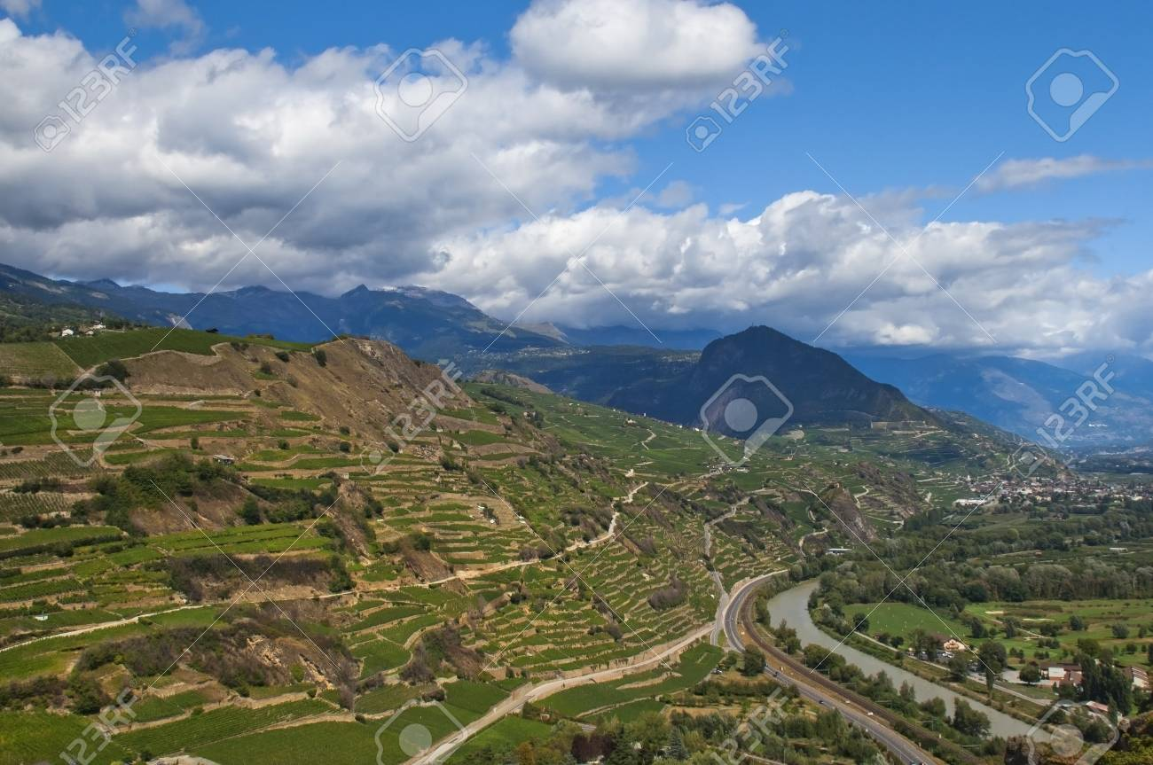 majestic views of the valley with a river in the mountainous switzerland Stock Photo - 13446971