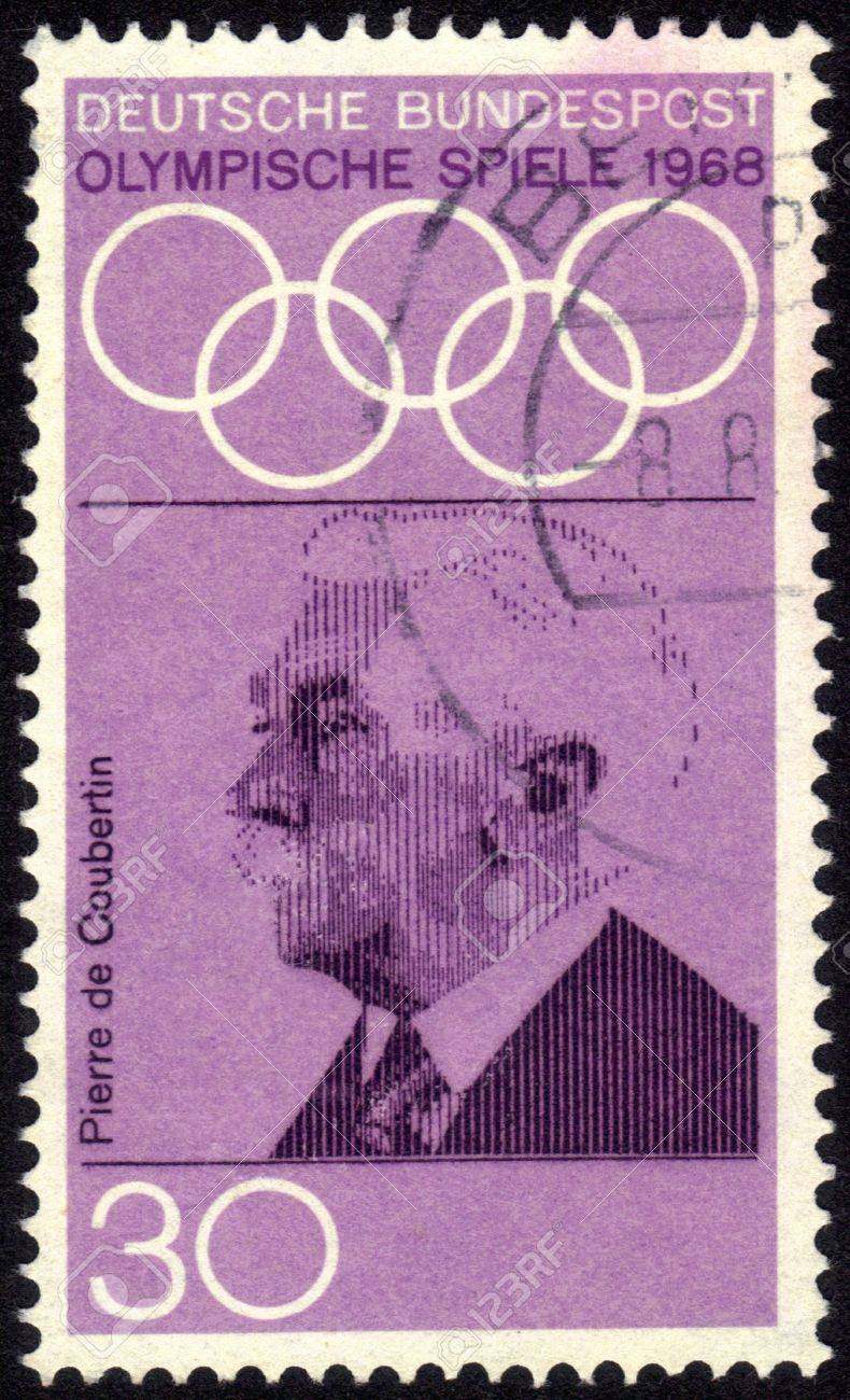 Germany - CIRCA 1968: a stamp printed by Germany shows Portrait of Pierre de Coubertin, dedicated to the 19th Olympic Games, Mexico City, circa 1968 Stock Photo - 13601941