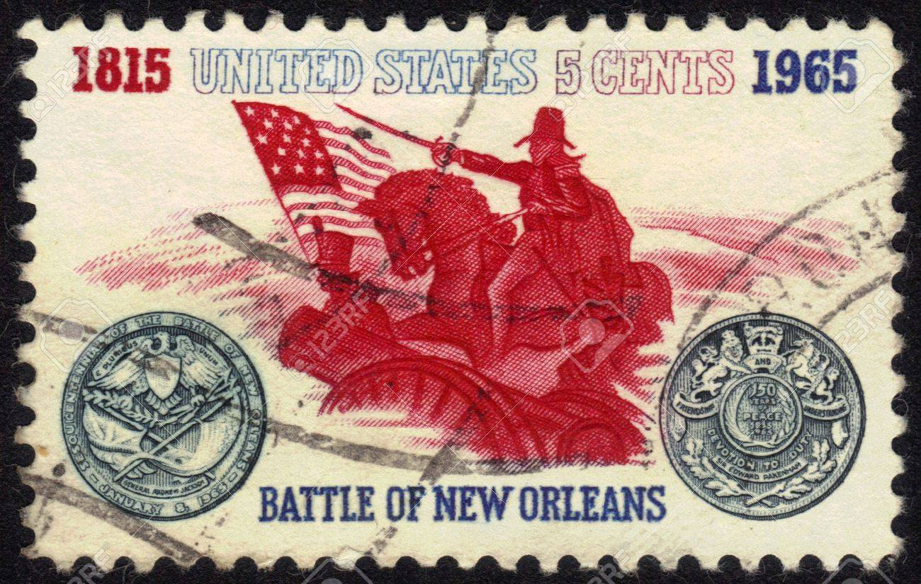 USA- CIRCA 1965  stamp printed in USA, shows Battle of New Orleans  General Andrew Jackson and Sesquicentennial Medal, circa 1965 Stock Photo - 13601942