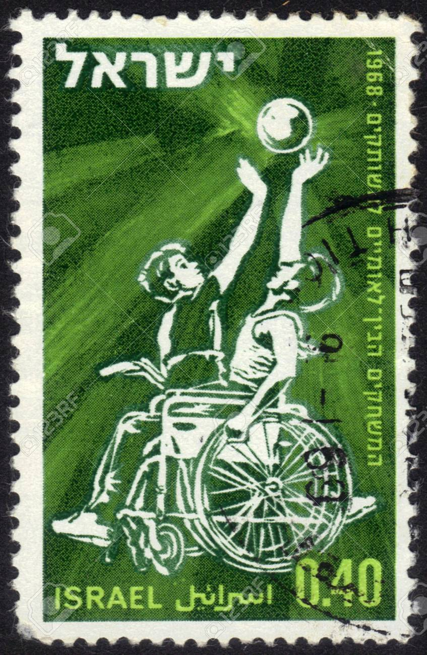 Israel - CIRCA 1968  a stamp printed by Israel shows basketball players sitting in a wheelchair  International games for the paralysed in Israel, circa, 1968 Stock Photo - 13669857