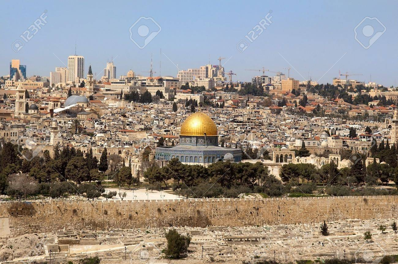 panoramic view of old and modern Great Jerusalem, Israel Stock Photo - 13801862