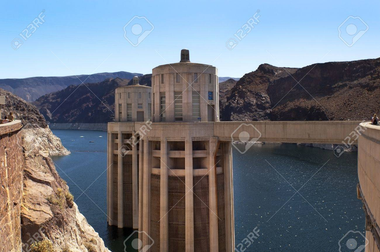 Hoover Dam (Boulder Dam), the dam on the Colorado River in Black Canyon, on the border of Arizona and Nevada, USA Stock Photo - 13929540
