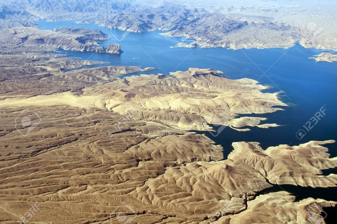 Aerial view of the Colorado River and Lake Mead, a snapshot taken from a helicopter on the border of Arizona and Nevada, USA Stock Photo - 13964132