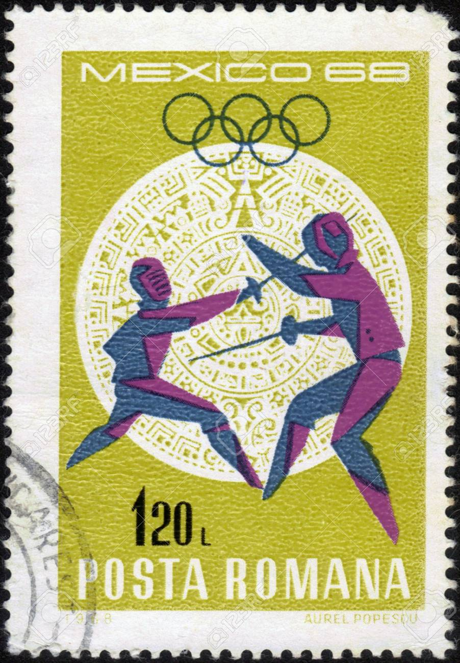 Romania - CIRCA 1968: a stamp printed by Romania, shows fencing the rapier. Olympic Games in Mexico City in 1968, series, circa 1968 Stock Photo - 14136846