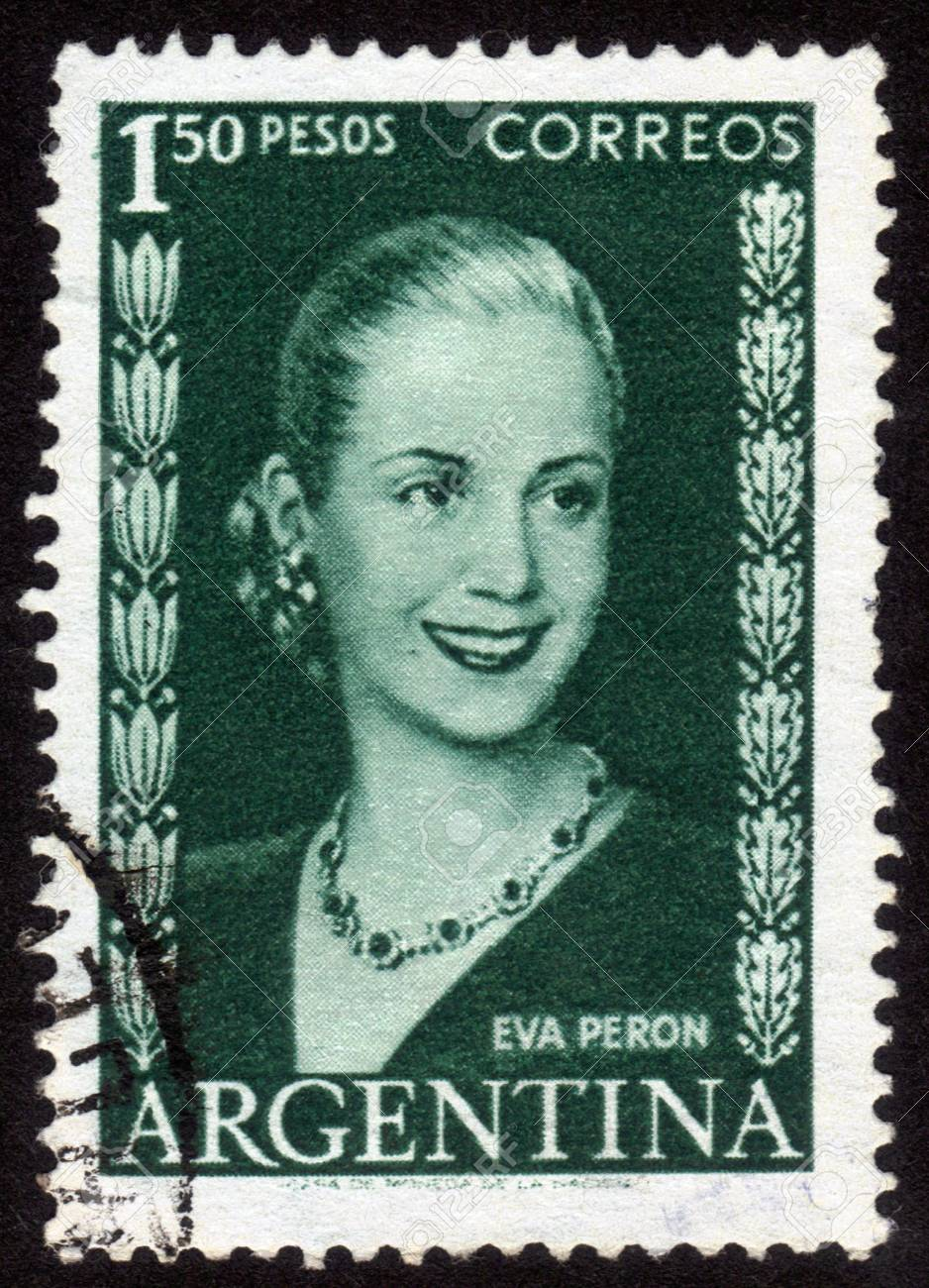 ARGENTINA - CIRCA 1948: A stamp printed in Argentina shows image of a political leader of Argentina, Maria Eva Duarte de Peron, circa 1948 Stock Photo - 14136851