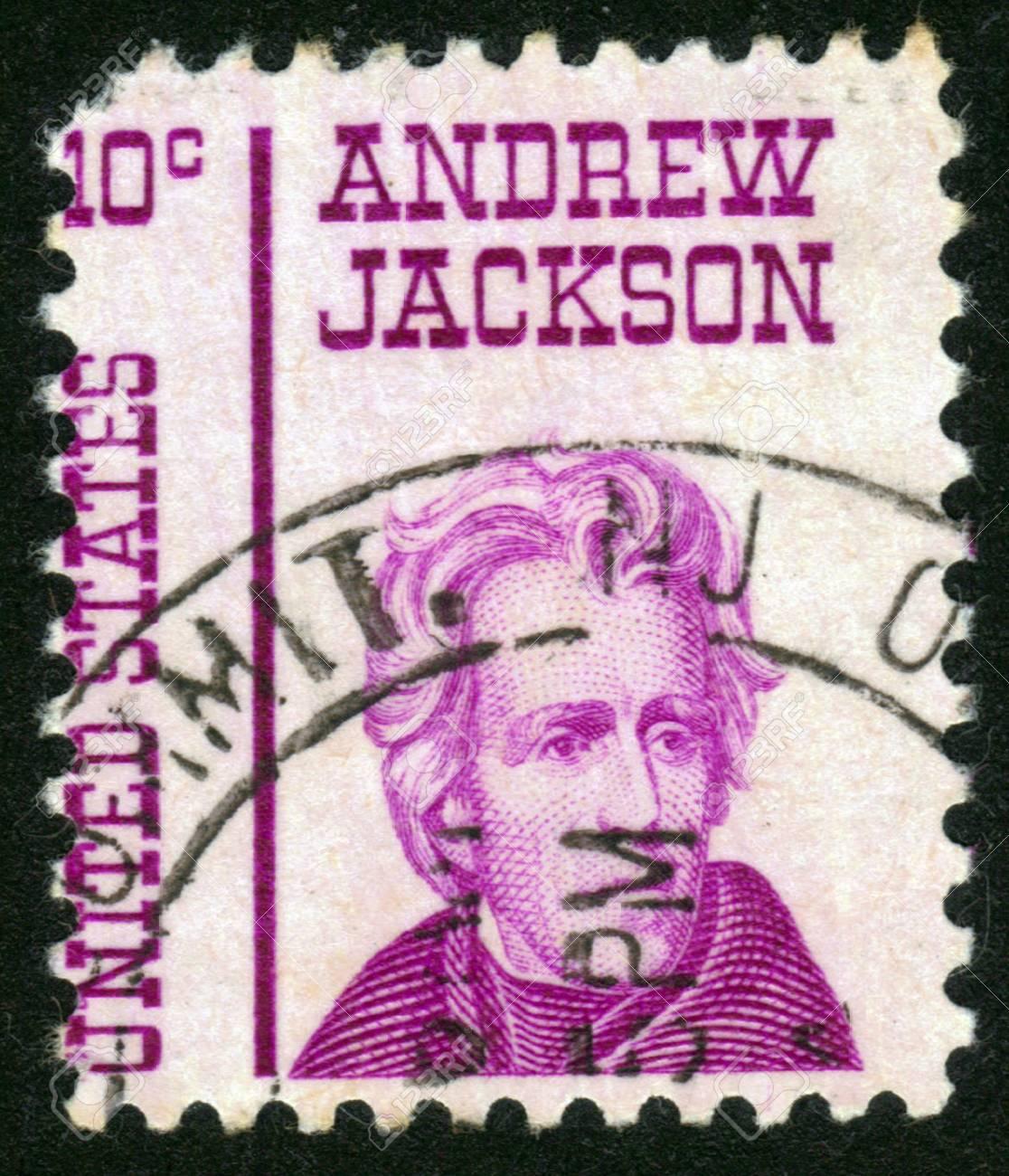 UNITED STATES OF AMERICA - CIRCA 1967: a stamp printed in the United States of America shows Andrew Jackson, 7th President of USA 1829-1837, circa 1967 Stock Photo - 14136841