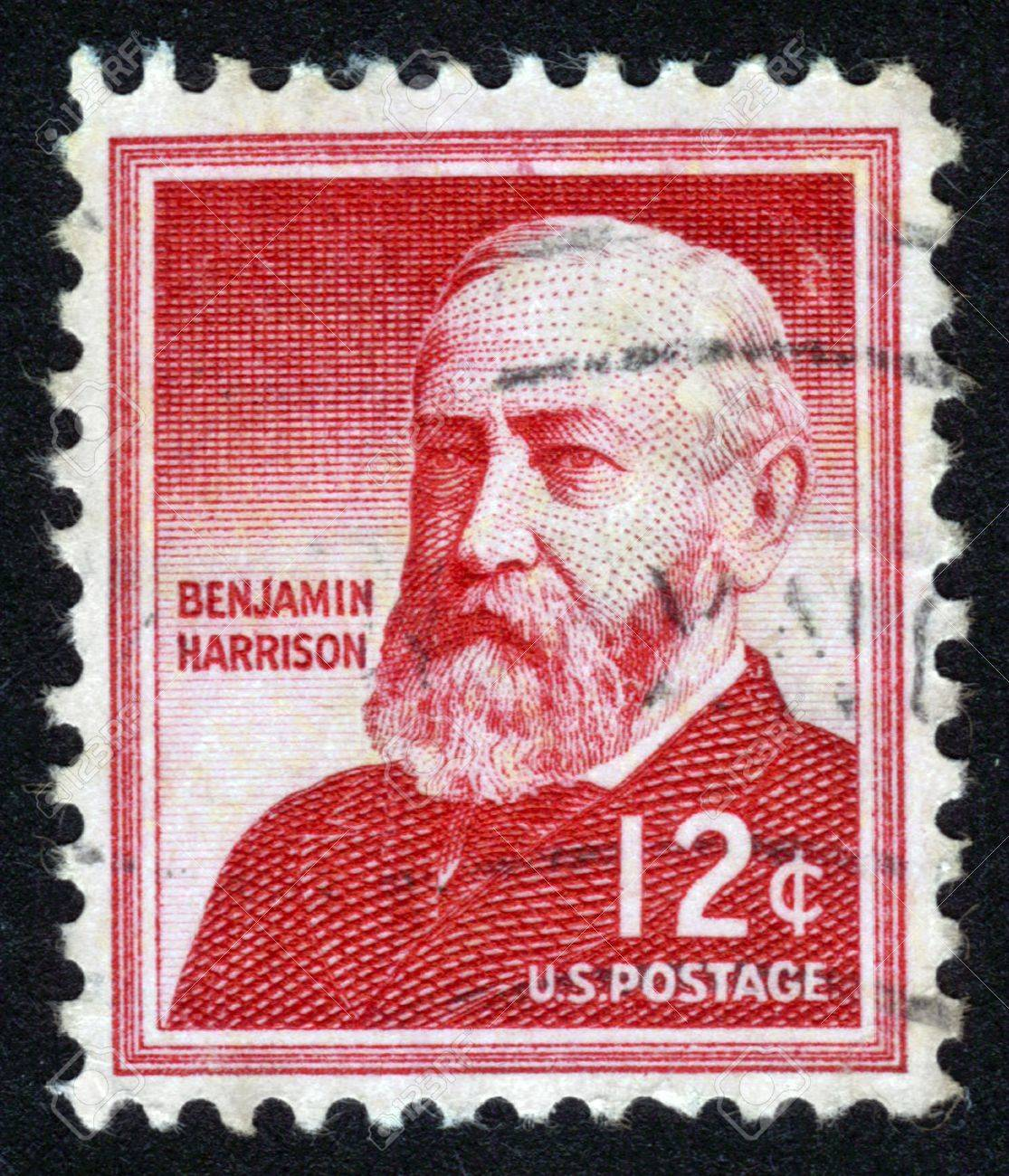 UNITED STATES - CIRCA 1954: A stamp printed in the United States, shows portrait of Benjamin Harrison (1833-1901) was the 23rd President of the United States, circa 1954 Stock Photo - 14136842