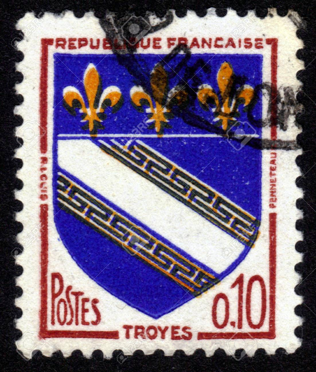 FRANCE - CIRCA 1963: A stamp printed in France, depicts arms of the city Troyes,  the capital of the  Aube department in north-central France , circa 1963 Stock Photo - 14046498