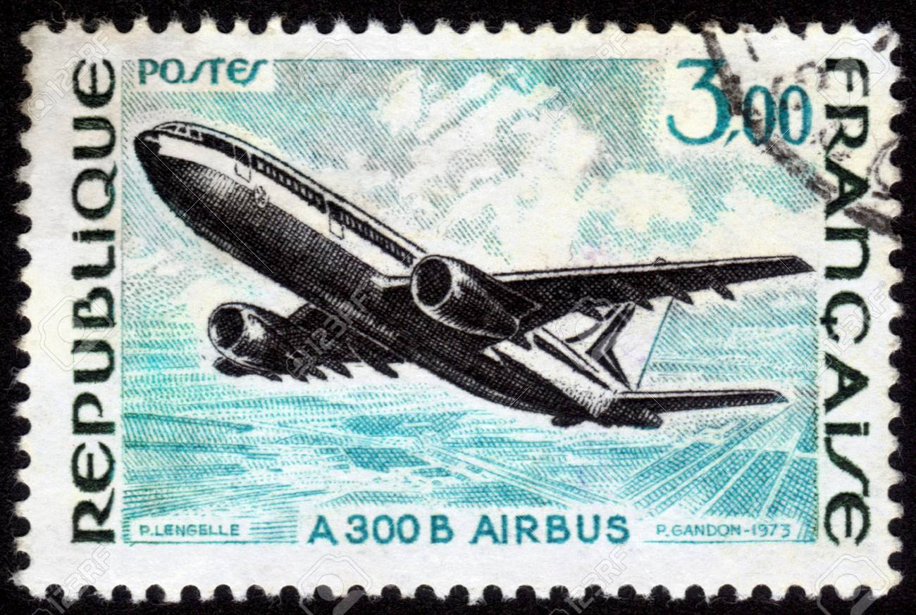 France - CIRCA 1973: A postage stamp printed in France, shows A 300 B Airbus , circa 1973 Stock Photo - 14046554