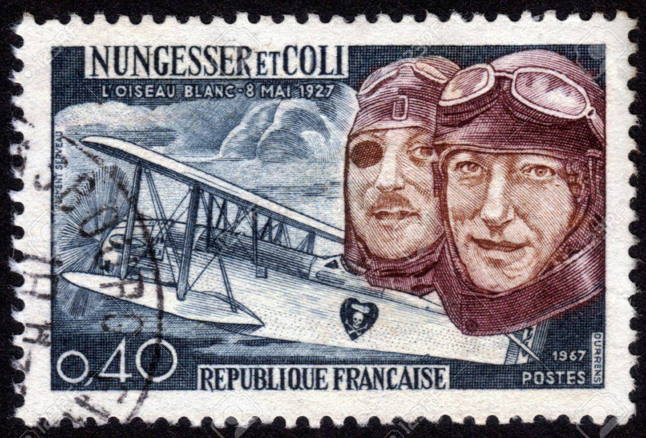 France - CIRCA 1967: A postage stamp printed in France, shows Charles Nungesser and Francois Coli, were French aviation pioneers. They attempted  to cross the Atlantic ocean , they  disappeared in May 9, 1927. crashed in the Atlantic ocean , circa 1967 Stock Photo - 14141480