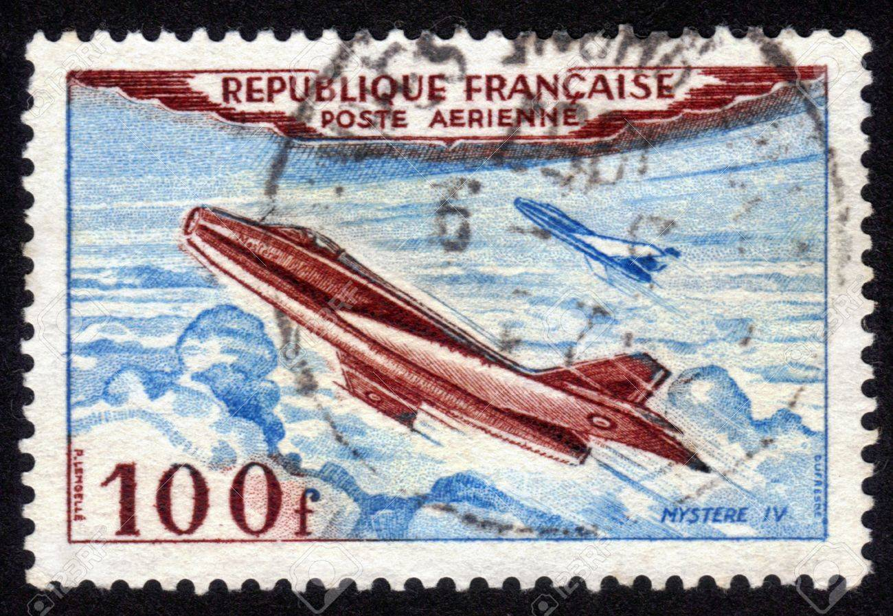 France - CIRCA 1954: A postage stamp printed in France, shows Jet Plane, Mystere IV , circa 1954 Stock Photo - 14141473