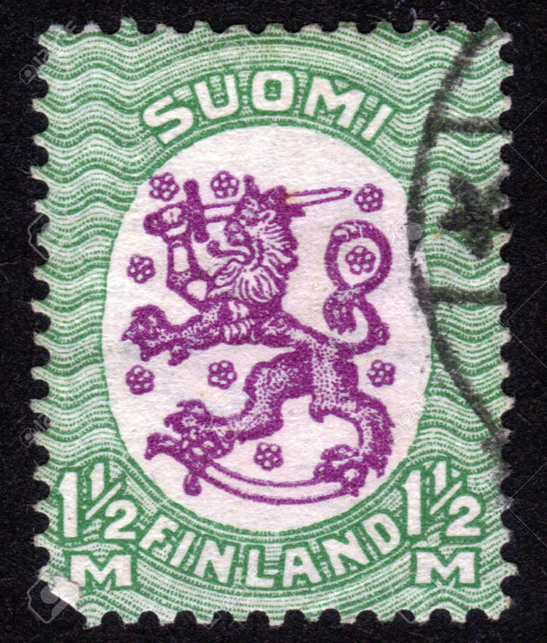 FINLAND - CIRCA 1929: stamp printed by Finland, shows Coat of arms of Finland, circa 1929 Stock Photo - 14147239