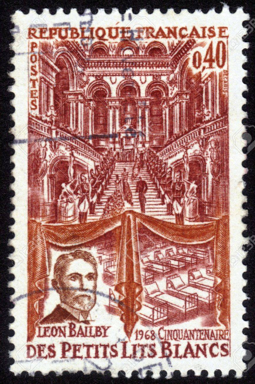 France - CIRCA 1968  A postage stamp printed in France, shows media magnate Leon Bailby , Paris Opera Staircase and Hospital Beds, Little White Beds, Children s Hospital, circa 1968 Stock Photo - 14147860