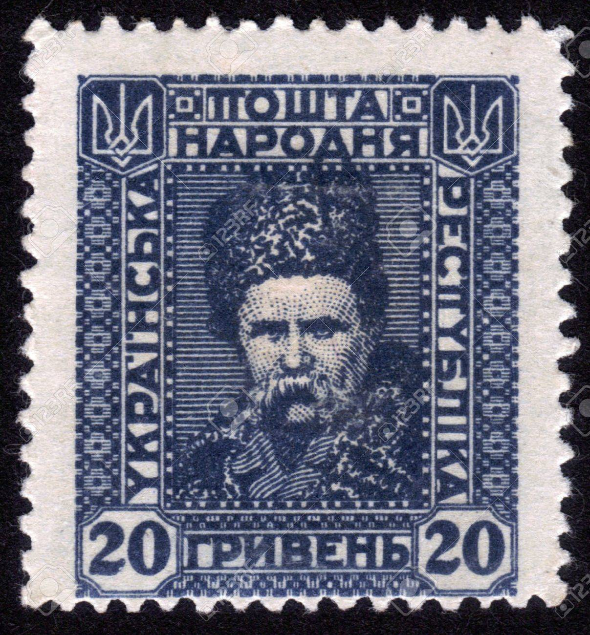 UKRAINE-CIRCA 1922 A stamp printed in UKRAINE shows image of Taras Hryhorovych Shevchenko  March 9 1814 - March 10 1861  was a Ukrainian poet, artist and humanist, circa 1922  Stock Photo - 14147889
