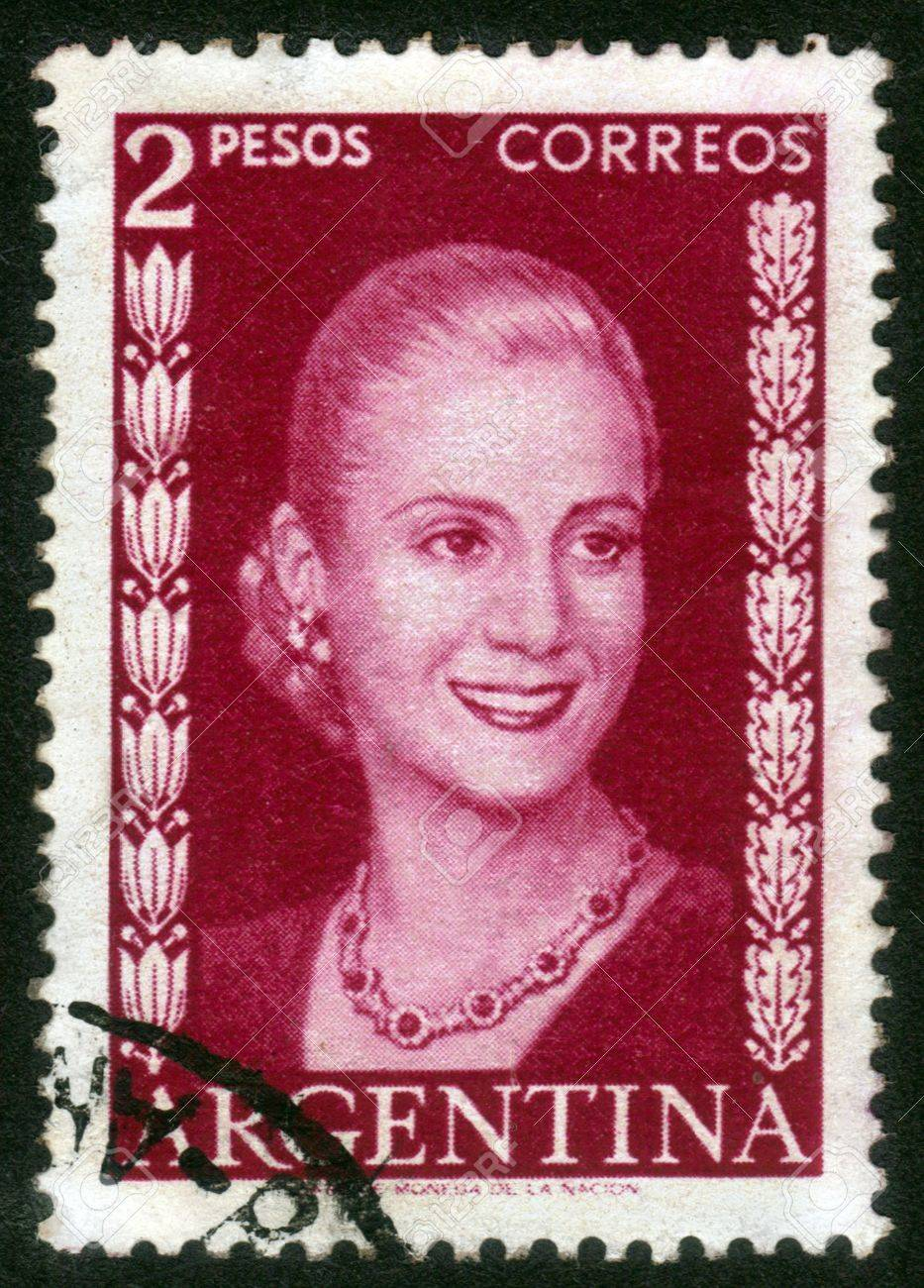 ARGENTINA - CIRCA 1948  A stamp printed in Argentina shows image of a political leader of Argentina, Maria Eva Duarte de Peron, circa 1948 Stock Photo - 14147897