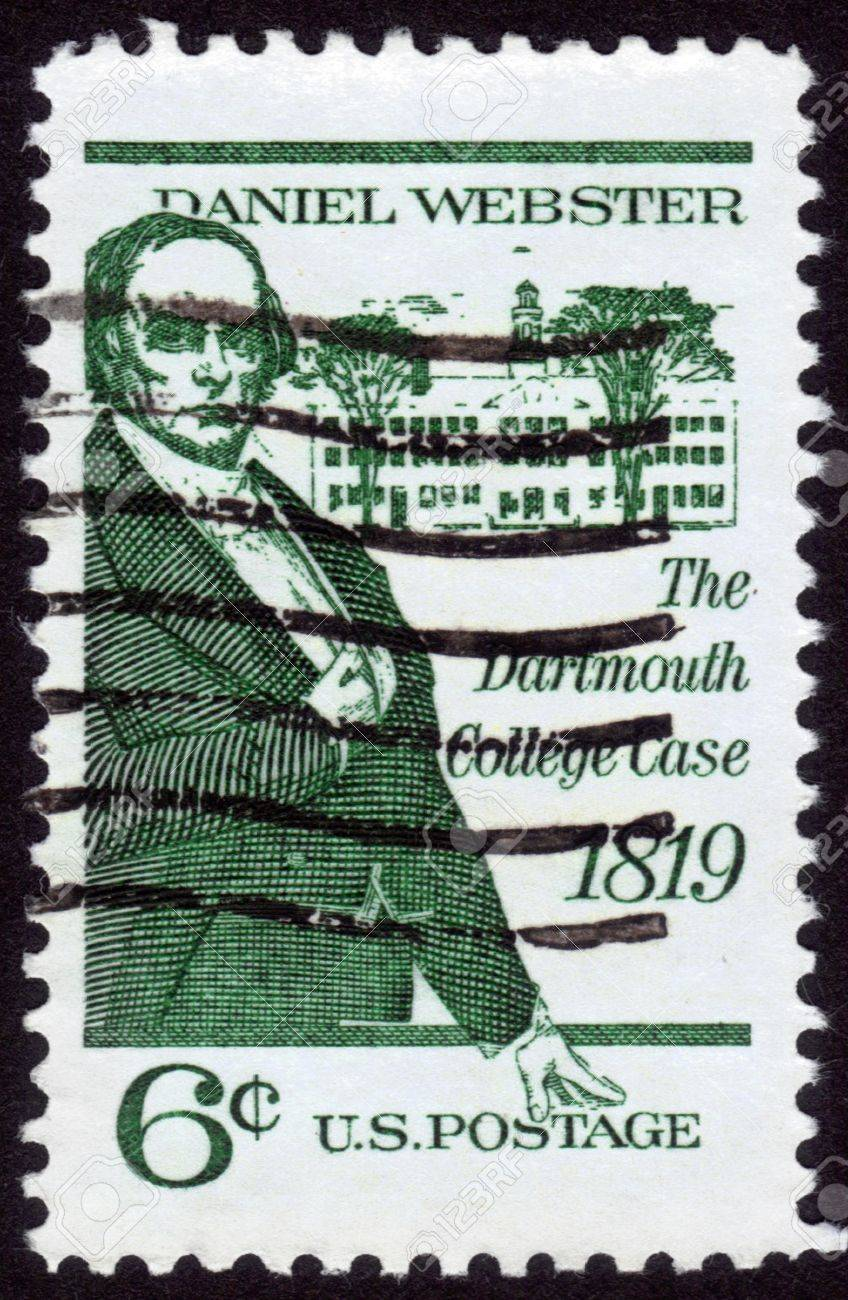 USA - CIRCA 1969: A stamp printed in the USA shows Daniel Webster, politician and lawyer, devoted to The Dartmouth College Case 1819, circa 1969 Stock Photo - 14147891