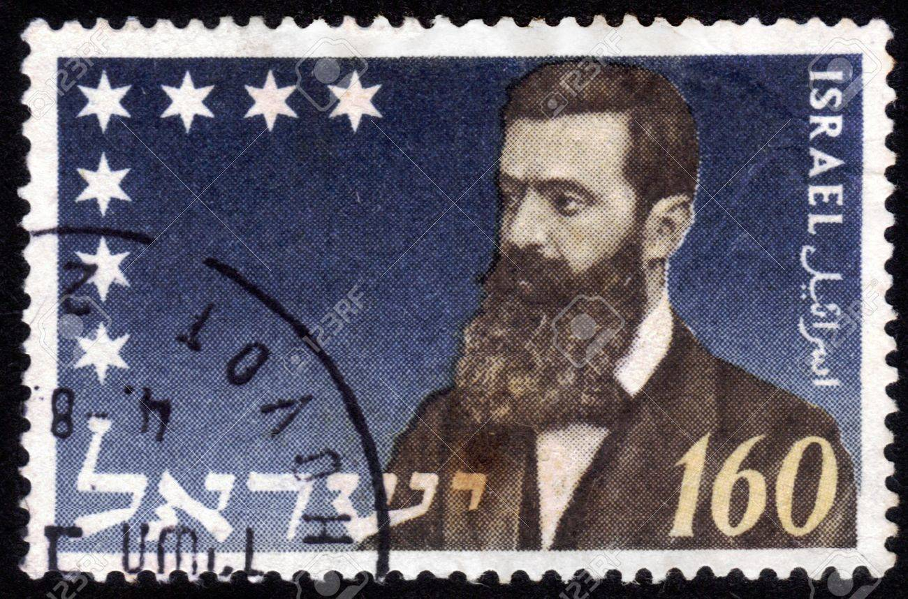 ISRAEL - CIRCA 1972:  stamp printed in Israel , shows portrait Theodor Herzl ' Dr. Benjamin Zeev Herzl ' of the father of modern political Zionism , issued in honor of the 28th Zionist Congress , series, circa 1972 Stock Photo - 14147896