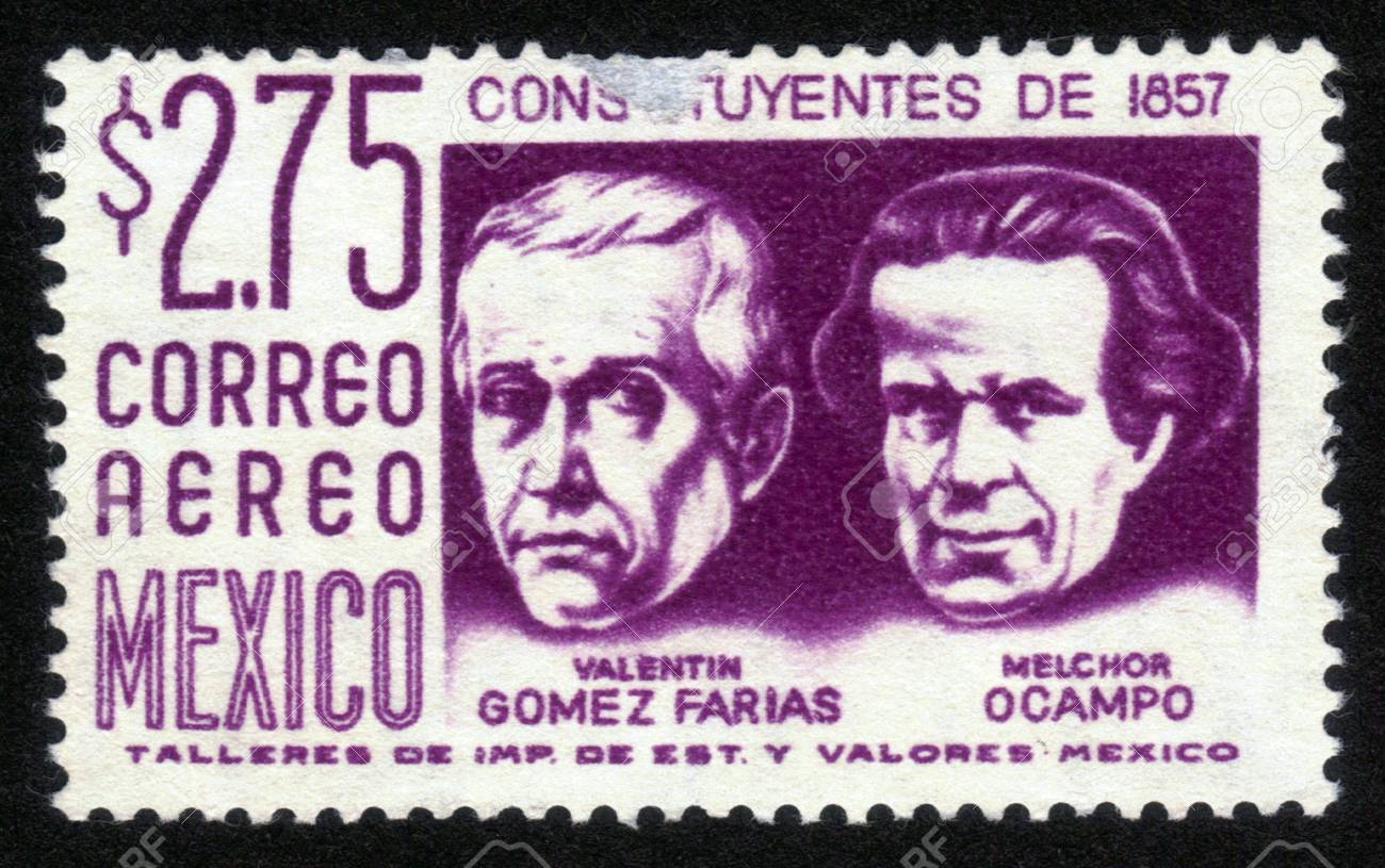 MEXICO - CIRCA 1963: A stamp printed in MEXICO shows portrait of Valentin Gomez Farias, 33rd President of Mexico and Melchor Ocampo, Mexican lawyer, scientist and liberal politician., Circa 1963 Stock Photo - 14264309