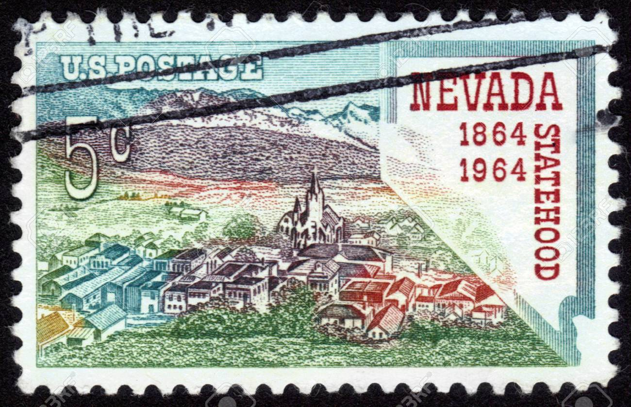 USA - CIRCA 1964: A stamp printed in the USA shows Nevada statehood, 1864-1964, circa 1964 Stock Photo - 14264283