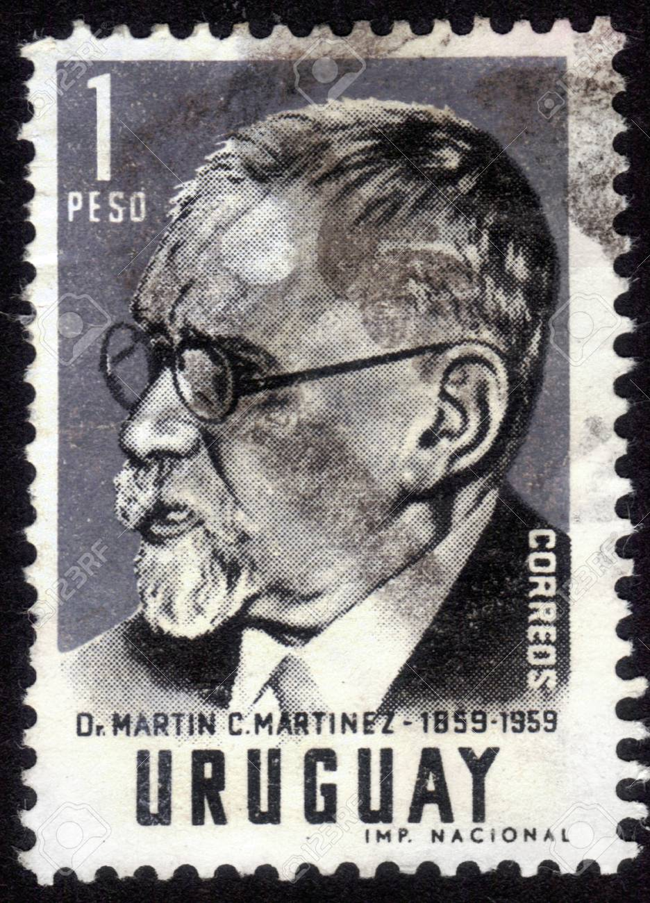 URUGUAY - CIRCA 1959: stamp printed by Uruguay, shows Martin C. Martinez, a lawyer and political figure in Uruguay, circa 1959 Stock Photo - 14296348