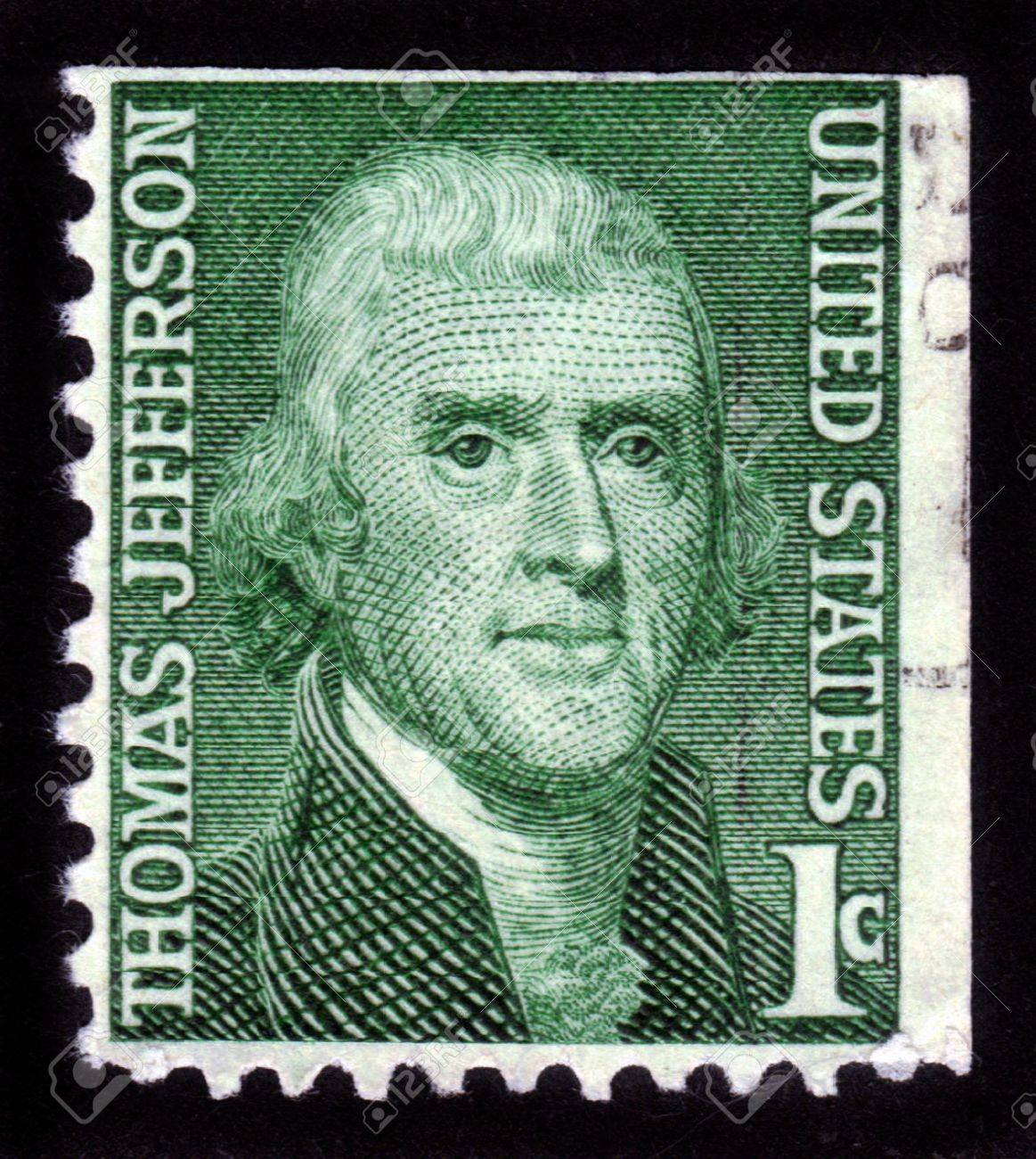 USA - CIRCA 1950: A stamp shows image portrait Thomas Jefferson was the third President of the U S A, the principal author of the Declaration of Independence (1776), circa 1950. Stock Photo - 14296343