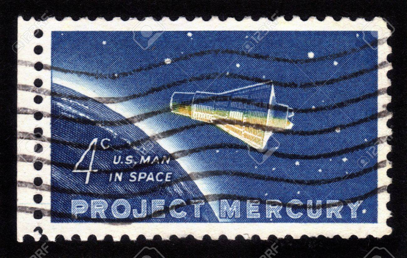 USA - CIRCA 1962: A stamp printed in the USA, dedicated to the project Mercury, and the first flight into space astronaut John Herschel Glenn, shows the