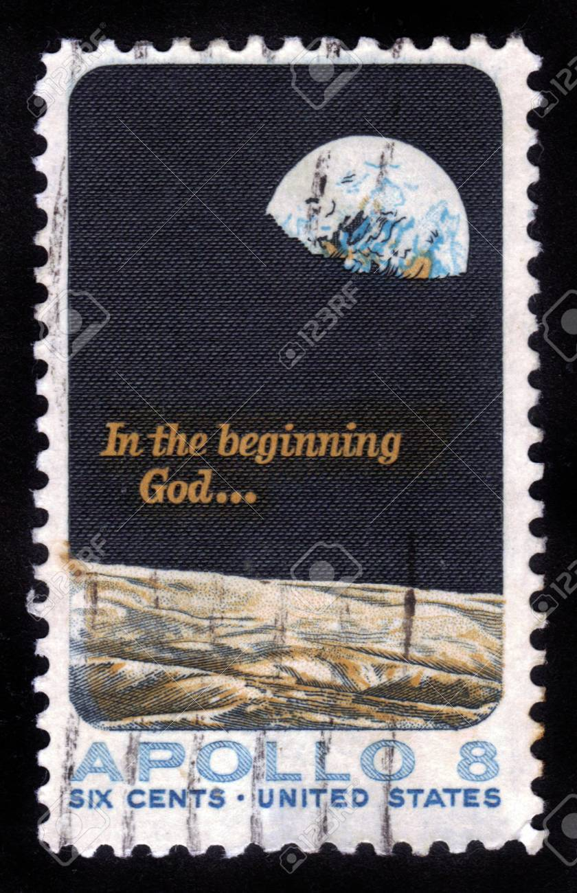 UNITED STATES - CIRCA 1969: A stamp printed by United States of America, shows Moon surface and Earth, Apollo 8 mission, circa 1969 Stock Photo - 14388398