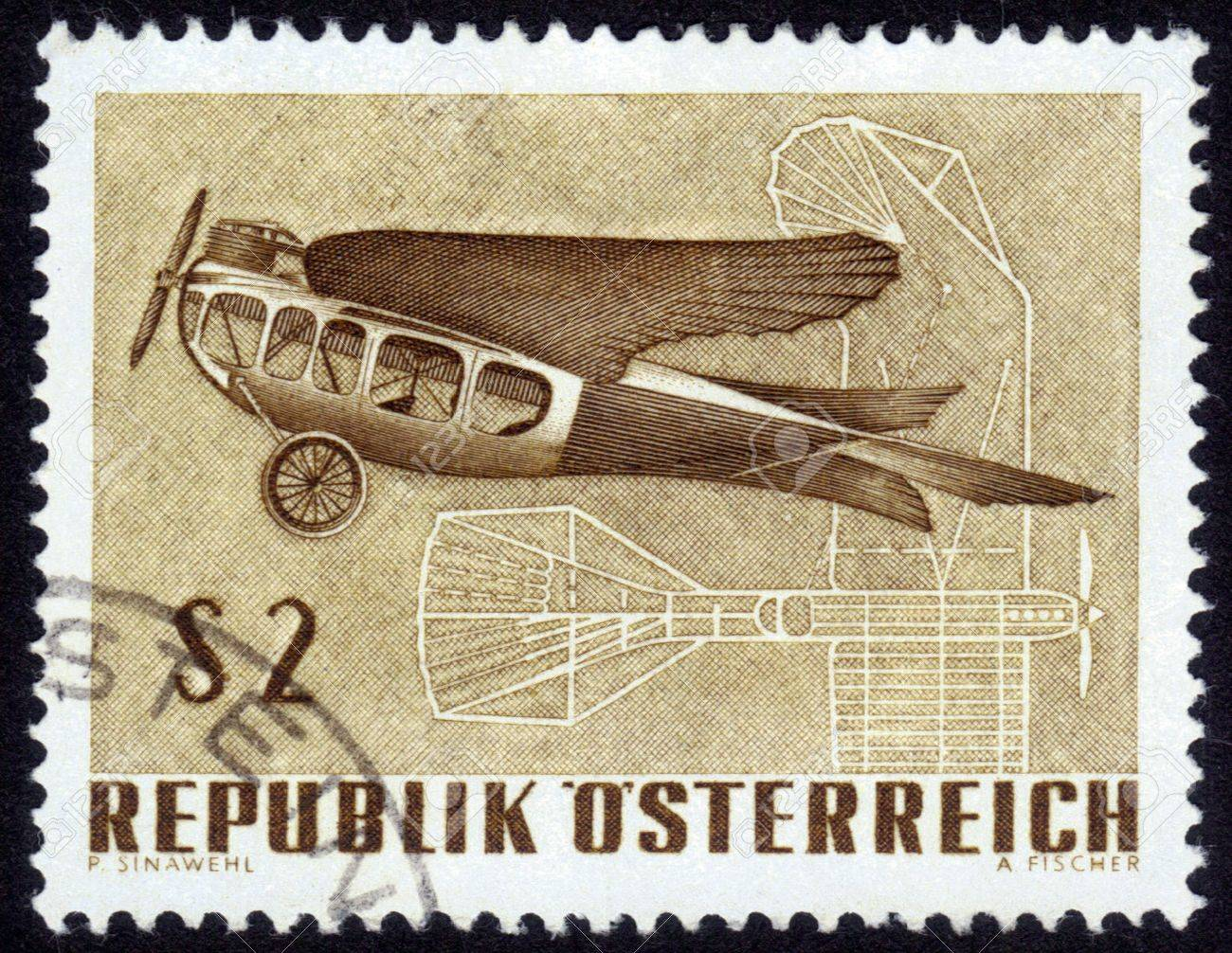 Austria - CIRCA 1968  A Stamp printed in Austria shows vintage aircraft and its drawing, International Exhibition of aircraft  IFA-1968 , circa 1968 Stock Photo - 14388403