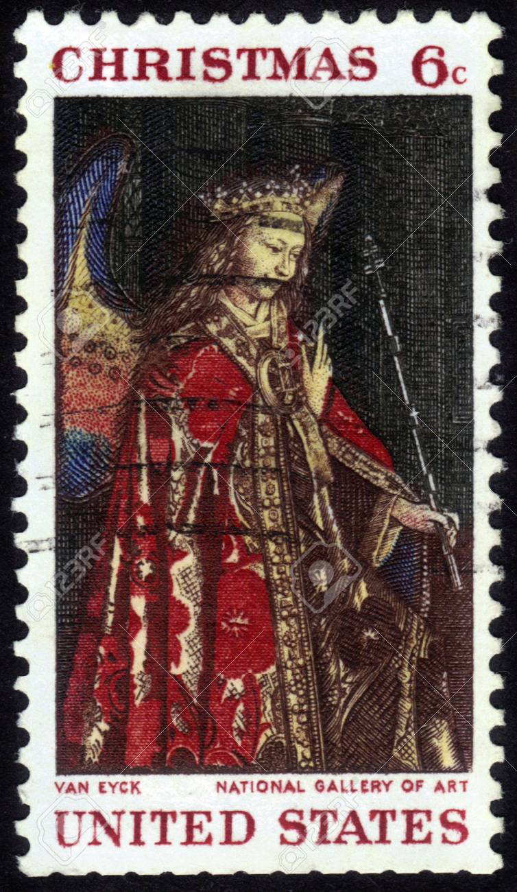 UNITED STATES - CIRCA 1968: A stamp printed by United States of America shows Angel Gabriel from The Annunciation, Jan Van Eyck, Christmas series, circa 1968 Stock Photo - 14376602