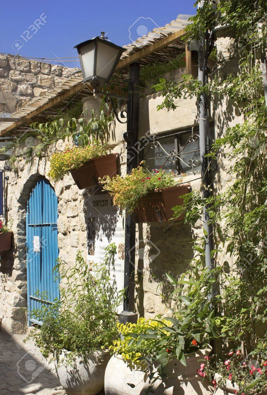 old stone house in the jewish religious quarter in safed upper