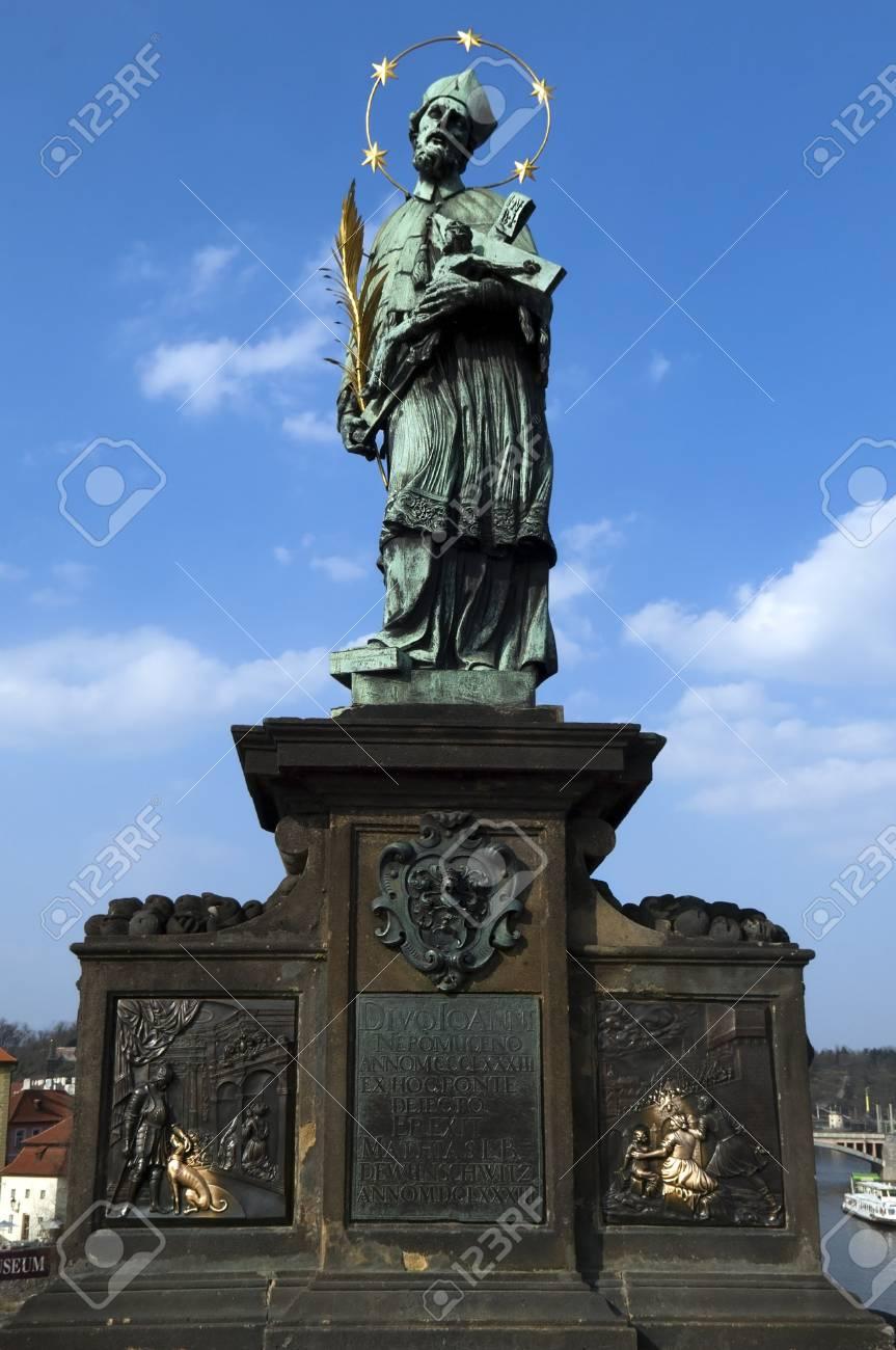 Statue of Saint on Charles Bridge, Prague, Czech republic Stock Photo - 14444773