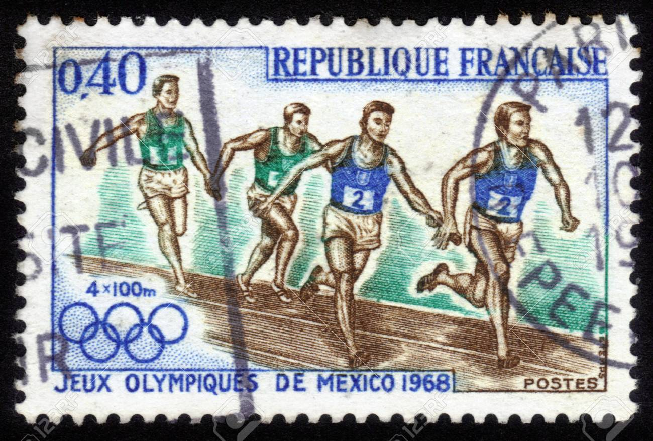 France - CIRCA 1968  a stamp printed by France shows athletes runners  Olympic Games in Mexico City in 1968, circa 1968 Stock Photo - 14564786