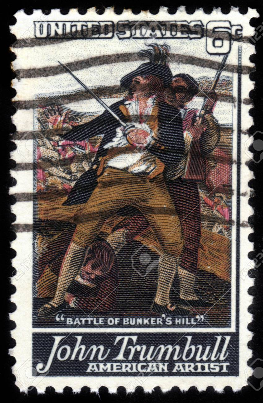 UNITED STATES OF AMERICA - CIRCA 1968: a stamp printed in the United States of America shows Detail from painting The Battle of Bunkers Hill by John Trumbull, 1780, circa 1968 Stock Photo - 14597266