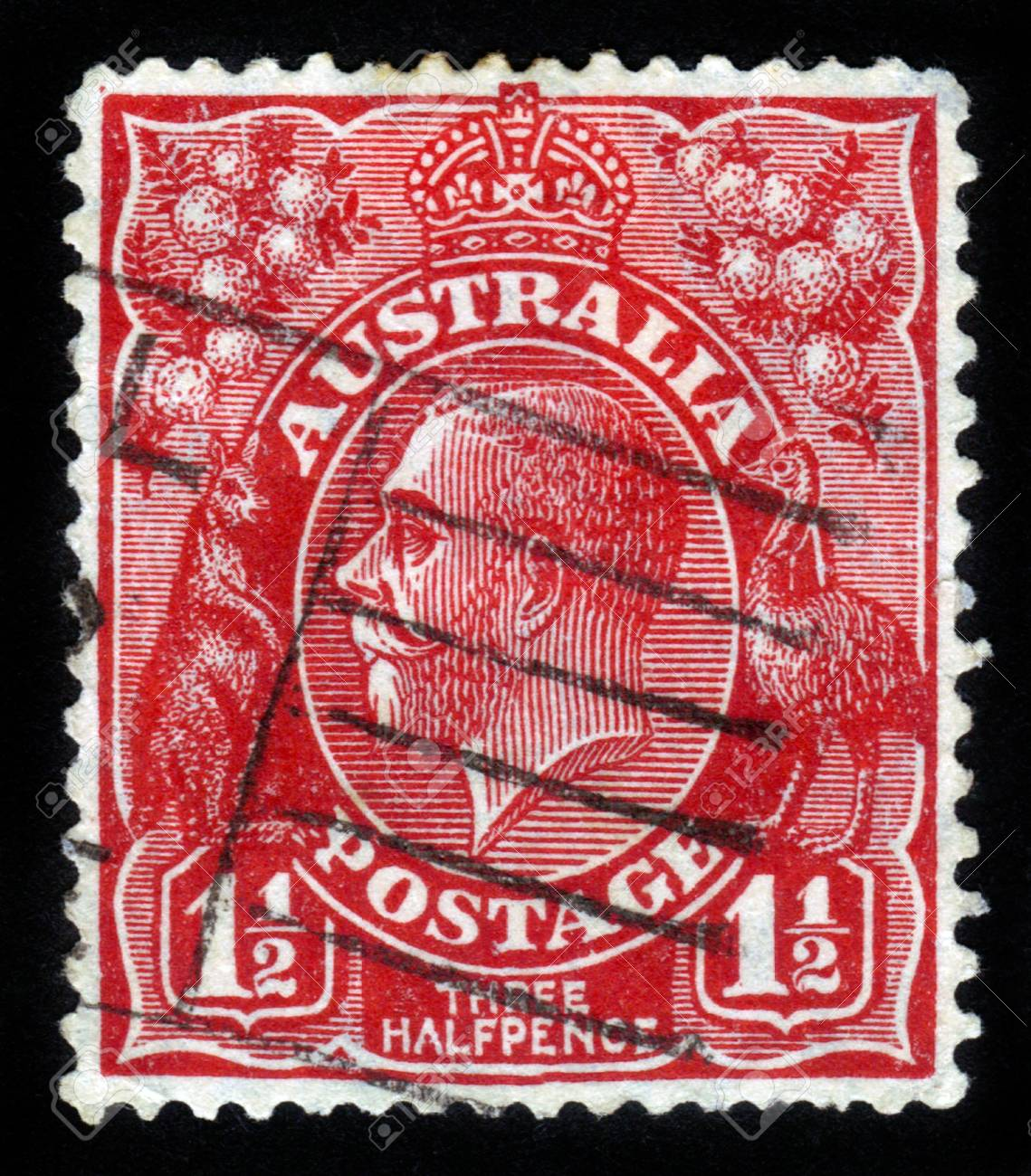 AUSTRALIA - CIRCA 1926  A stamp printed in the Australia shows image of King George V, circa 1926 Stock Photo - 14720181