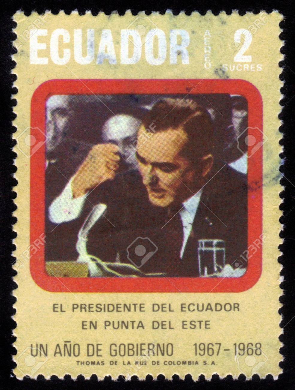 ECUADOR - CIRCA 1968  A stamp printed in Ecuador shows image of a Otto Arosemena GOMEZ, Ecuadorian statesman and politician, president of Ecuador  1966-1968  , circa 1968 Stock Photo - 14720192