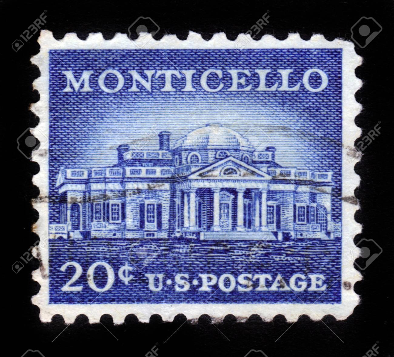USA - CIRCA 1956  A Stamp printed in USA shows Monticello, the estate of Thomas Jefferson, 200th Anniversary, circa 1956 Stock Photo - 14720180