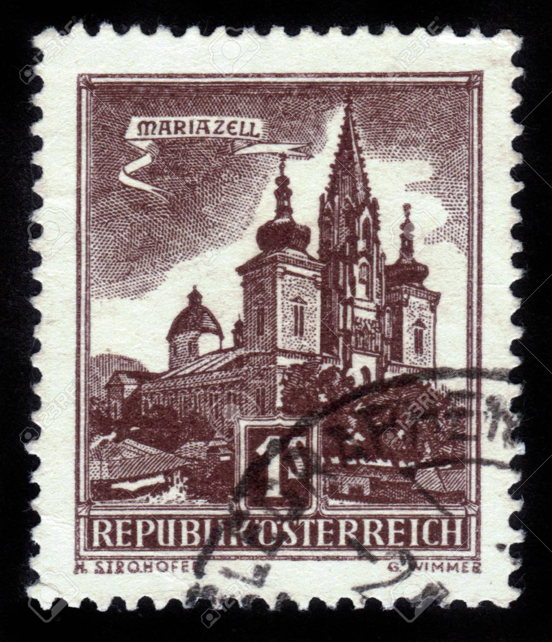AUSTRIA - CIRCA 1959: A stamp printed in Austria shows image of the Austrian city of Mariazell, series, circa 1959 Stock Photo - 14720198