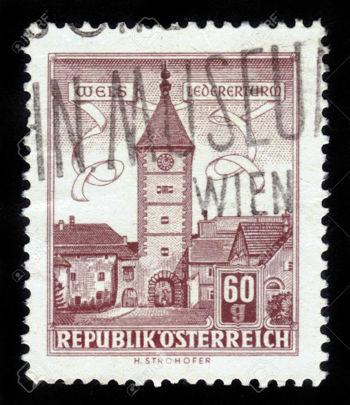 AUSTRIA - CIRCA 1960: A stamp printed in Austria,  shows Lederer Tower in Wels , Austria , circa 1960 Stock Photo - 14720197