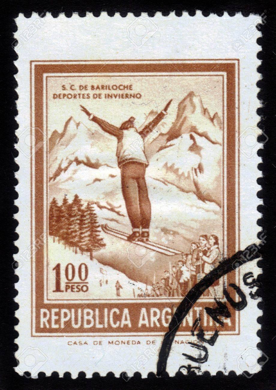 Argentina - CIRCA 1961  A stamp printed in the Argentina shows ski jumper, circa 1961 Stock Photo - 14794660