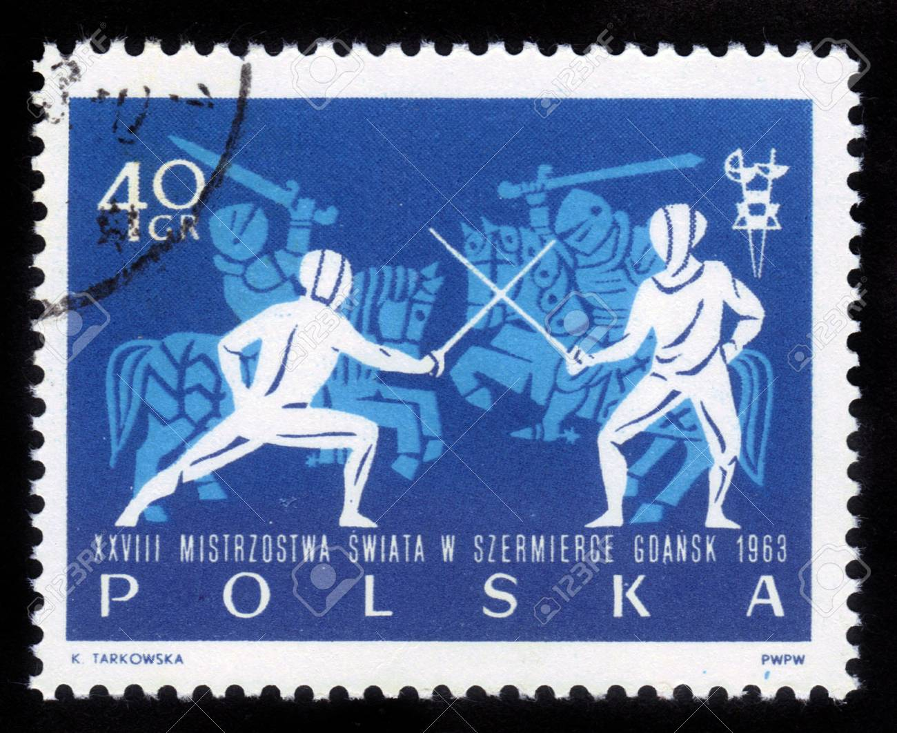 POLAND - CIRCA 1963  A stamp printed in Poland shows Fencers and knights in armor, circa 1963 Stock Photo - 14849082